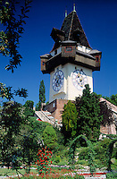 Austria, Styria, Schladming, capital Graz: landmark clock tower at  Schlossberg (castle hill)
