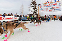 Jason Campeau leaves the start during the restart of the 2019 Iditarod race in Willow, Alaska on Sunday March 3, 2019.<br /> <br /> Photo by Jeff Schultz/  (C) 2019  ALL RIGHTS RESERVED
