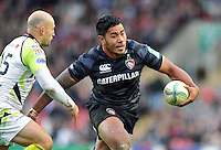 Manu Tuilagi in possession. Heineken Cup match, between Leicester Tigers and the Ospreys on October 21, 2012 at Welford Road in Leicester, England. Photo by: Patrick Khachfe / Onside Images