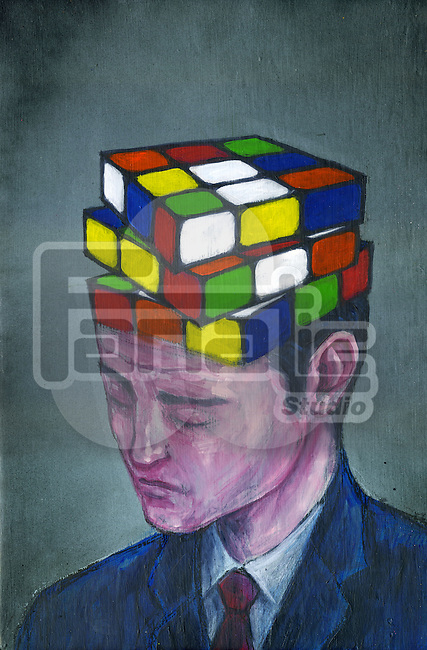 Illustrative image of businessman with block puzzle on his head representing confusion