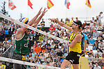 31.05.2015, Moskau, Vodny Stadion<br /> Moskau Grand Slam, Main Draw / Spiel Platz 3/4<br /> <br /> Block Alison Cerutti (#1 BRA) - Angriff Kay Matysik (#2 GER)<br /> <br />   Foto &copy; nordphoto / Kurth