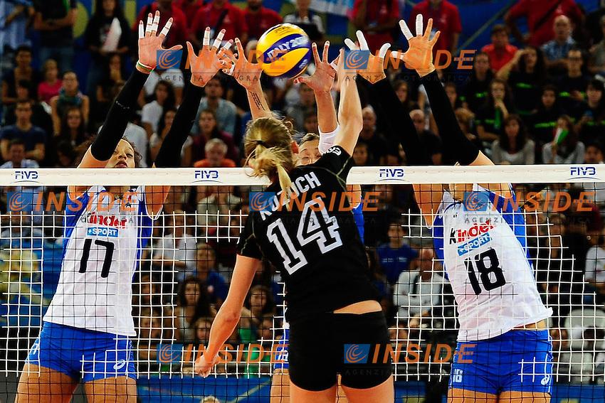 Italia vs Germania<br /> 14 Margareta Kozuch c GER<br /> 17 Valentina Diouf ITA<br /> 18 Carolina Del Pilar Costagrande ITA<br /> 13 Valentina Arrighetti ITA<br /> FIVB Volleyball Women's World Championship Italy 2014 <br /> Rome 25-09-2014 Palaeur Foto F.Pasquali/Insidefoto