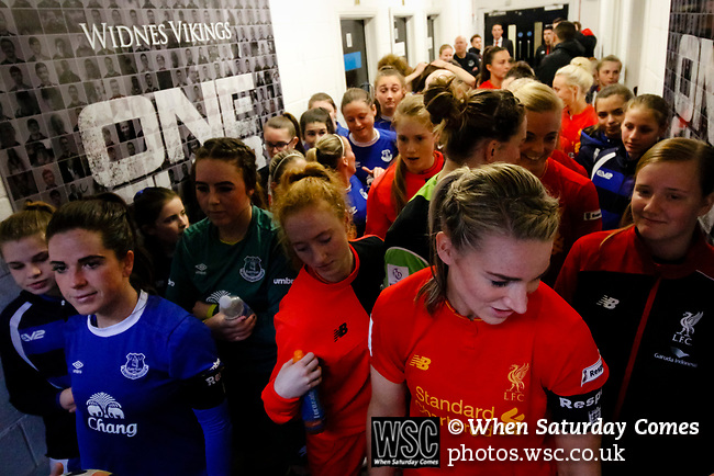 Liverpool Ladies 2 Everton Ladies 1, 19/03/2017. Select Security Stadium, SSE FA Cup Fifth Round. Players in the tunnel before the game between Liverpool Ladies v Everton Ladies at The Select Security Stadium, Widnes, in the Women's SSE FA Cup Fifth Round. Photo by Paul Thompson.