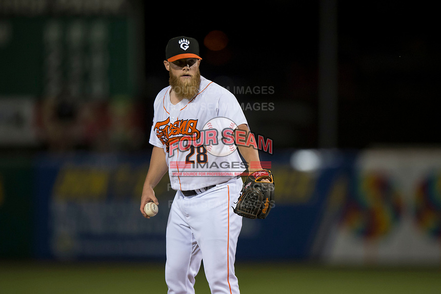 Fresno Grizzlies relief pitcher Matt Ramsey (28) during a Pacific Coast League game against the Salt Lake Bees at Chukchansi Park on May 14, 2018 in Fresno, California. Fresno defeated Salt Lake 4-3. (Zachary Lucy/Four Seam Images)