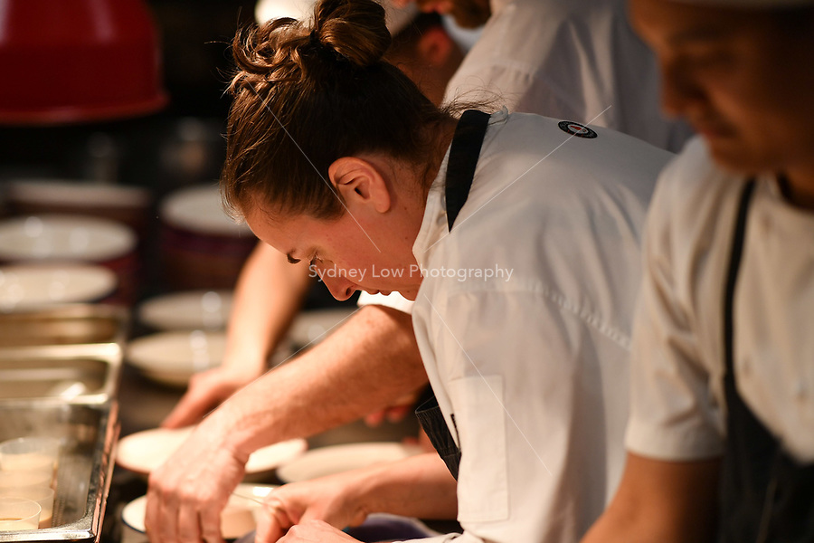 MELBOURNE, 30 June 2017 – Sasha Randle prepares her dish of chicken liver royale, Le Puy green lentils and black truffle at a dinner celebrating Philippe Mouchel's 25 years in Australia with six chefs who worked with him in the past at Philippe Restaurant in Melbourne, Australia.