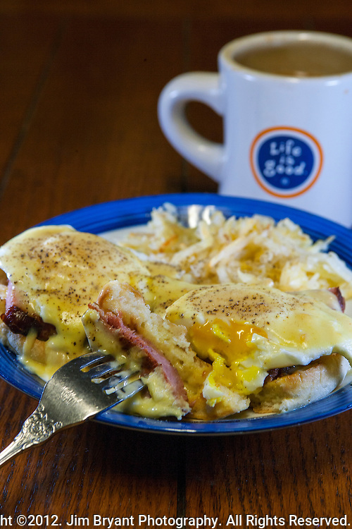 Eggs Benedict  with, Ham, eggs and Hollandaise sauce. ©2012. Jim Bryant Photo. All Rights Reserved.