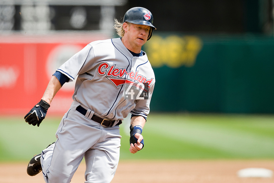 6 April 2008: Indians' #8 Jason Michaels runs toward third base during the Cleveland Indians 2-1 victory over the Oakland Athletics at the McAfee Coliseum in Oakland, CA.