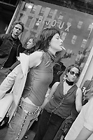 Milla Jovovich outside of the Imitation Of Christ fashion show, NYC, 2000