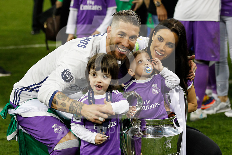 Sergio Ramos of Real Madrid celebrates with his family after the UEFA Champions League Final match between Juventus and Real Madrid at the Principality Stadium on June 3rd 2017 in Cardiff, Wales.