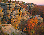 Shawnee National Forest, IL<br /> Late sun on sandstone cliffs and forest in fall color - Garden of the Gods Recreation Area