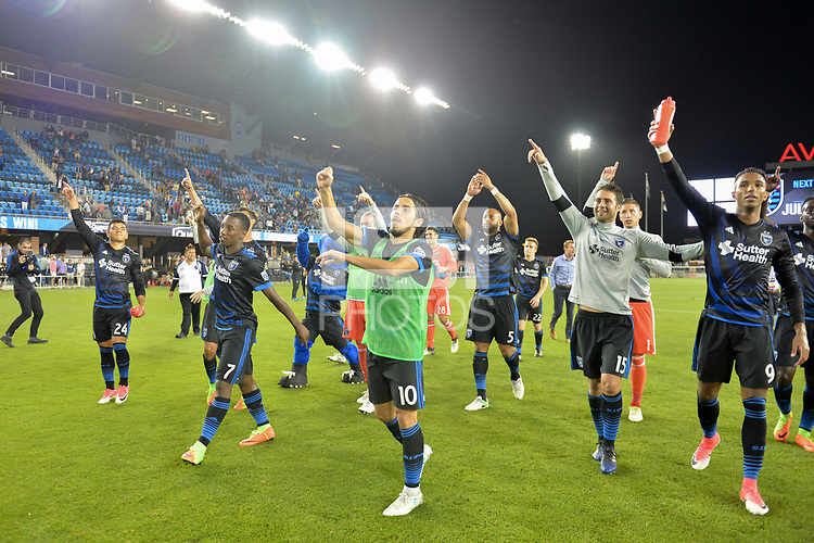 San Jose, CA - Monday July 10, 2017: Nick Lima, Cordell Cato, Jahmir Hyka, Andres Imperiale, Danny Hoesen after a U.S. Open Cup quarterfinal match between the San Jose Earthquakes and the Los Angeles Galaxy at Avaya Stadium.