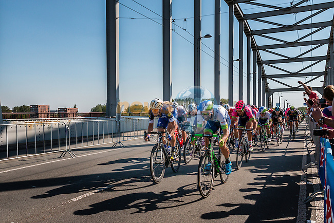Front of the peloton with Etixx - Quick Step (BEL) and Orica - GreenEDGE (AUS) leading at the final lap (1000M) from the finish line on the John Frost Bridge 'A Bridge Too Far', stage 3 from Nijmegen to Arnhem running 190 km of the 99th Giro d'Italia (UCI WorldTour), The Netherlands, 8 May 2016. Photo by Pim Nijland / PelotonPhotos.com | All photos usage must carry mandatory copyright credit (Peloton Photos | Pim Nijland)