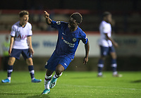 Tariq Lamptey of Chelsea celebrates his goal during the Premier League 2 match between Chelsea U23 and Tottenham Hotspur U23 at the Electrical Services Stadium, Aldershot, England on 30 August 2019. Photo by Andy Rowland.