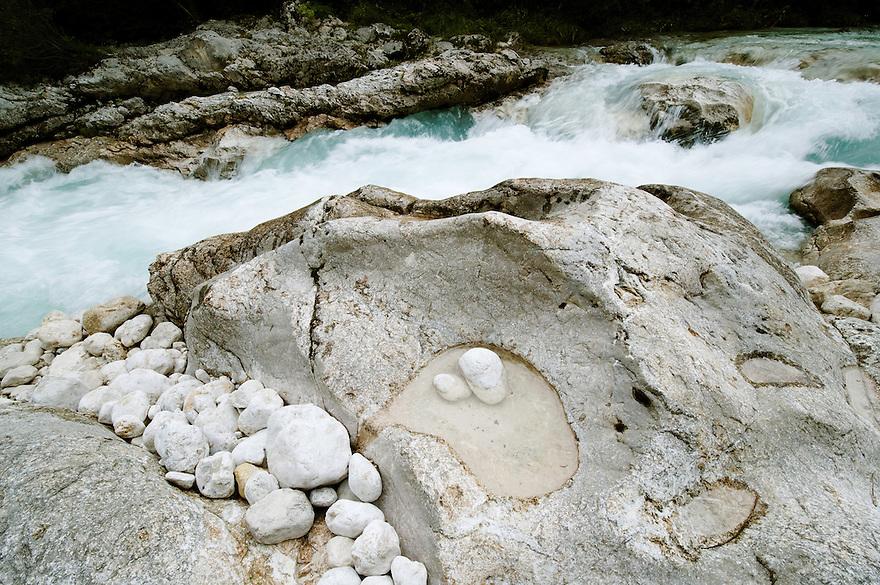 River Soca at &quot;Mala korita&quot; (&quot;Little Canyon&quot;), cascades, pothole, stones<br /> Triglav National Park, Slovenia<br /> June 2009