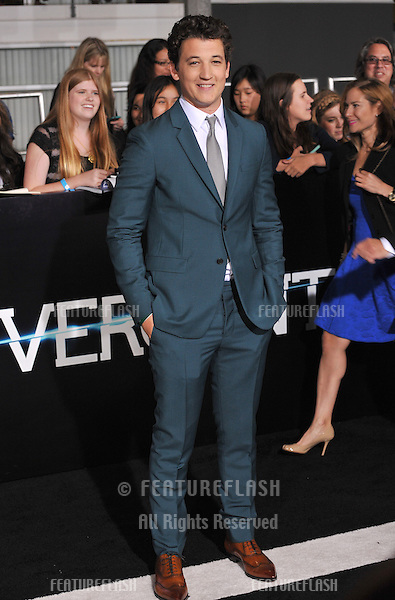 Miles Teller at the Los Angeles premiere of his movie &quot;Divergent&quot; at the Regency Bruin Theatre, Westwood.<br /> March 18, 2014  Los Angeles, CA<br /> Picture: Paul Smith / Featureflash