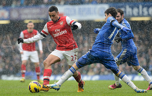 20.01.2013 London, England. Francis Coquelin Of Arsenal   in action during the Premier League game between Chelsea and Arsenal at Stamford Bridge.