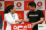 (L to R) McDonald's Japan CEO and President Sarah Casanova and Japan's online shopping giant Rakuten president Hiroshi Mikitani shake hands during a news conference on May 26, 2017, Tokyo, Japan. Rakuten and McDonald's have cemented their business relationship by launching an original point card which can be used at all of the 2,900 McDonald's stores in Japan. (Photo by Rodrigo Reyes Marin/AFLO)