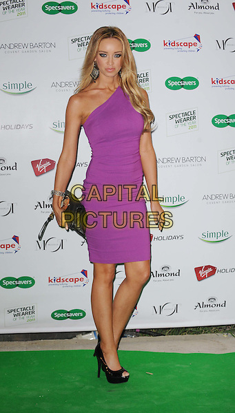 Lauren Pope .Outside Arrivals Specsavers Spectacle Wearer of the Year Awards 2011 at Battersea Power Station, London, England..November 15th, 2011.full length dress black shoes clutch bag purple one shoulder  .CAP/WIZ.© Wizard/Capital Pictures.
