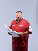 NWA Democrat-Gazette/BEN GOFF &bull; @NWABENGOFF<br /> Coach Bret Bielema poses for a photo on Sunday Aug. 9, 2015 during Arkansas football media day at the Fred W. Smith Football Center in Fayetteville.