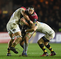 Ben Glynn of Harlequins takes on the Wasps defence. European Rugby Champions Cup match, between Harlequins and Wasps on January 13, 2018 at the Twickenham Stoop in London, England. Photo by: Patrick Khachfe / JMP