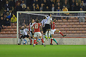 12th September 2017, Oakwell, Barnsley, England; Carabao Cup, second round, Barnsley versus Derby County; Adam Jackson of Barnsley FC scores with his header for 1-1
