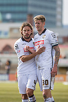 Alan Smith and Jon Stead of Notts County at full time of the Sky Bet League 2 match between Newport County and Notts County at Rodney Parade, Newport, Wales on 30 April 2016. Photo by Mark  Hawkins / PRiME Media Images.