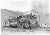 D&amp;RGW #489 eastbound with two cabooses arriving at Sargent.<br /> D&amp;RGW  Sargent, CO  Taken by Richardson, Robert W. - 5/2/1955