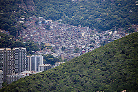 Rocinha is the largest favela in Brazil located in Rio de Janeiro's South Zone between the high class districts of Sao Conrado and Gavea. built on a steep hillside surrounded by large vegetation area.