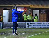 Lincoln City manager Danny Cowley shouts instructions to his team from the technical area<br /> <br /> Photographer Andrew Vaughan/CameraSport<br /> <br /> The EFL Sky Bet League Two - Lincoln City v Cheltenham Town - Tuesday 13th February 2018 - Sincil Bank - Lincoln<br /> <br /> World Copyright &copy; 2018 CameraSport. All rights reserved. 43 Linden Ave. Countesthorpe. Leicester. England. LE8 5PG - Tel: +44 (0) 116 277 4147 - admin@camerasport.com - www.camerasport.com