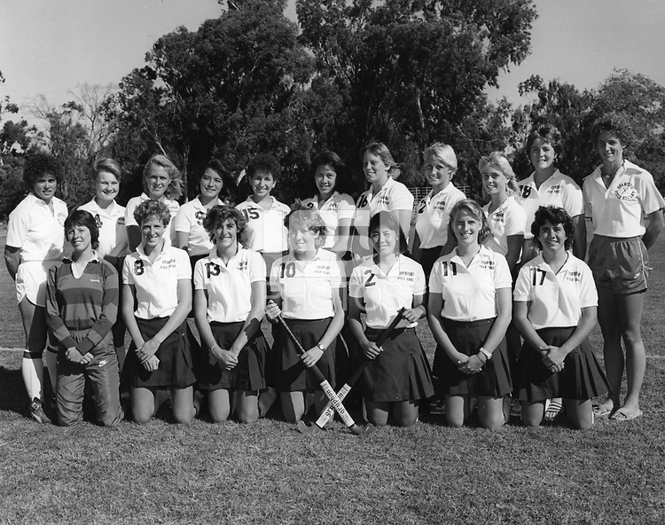 1985 Stanford Field Hockey Team: Back Row (L to R): Asst. Coach Noelle Mitchell, Dana Fleming, Wanda Kay Key, Kathy Thomas, Lisa Jacobson, Mary Chung, Lisa Stewart, Mary Goodman, Ami Chitwood, Asst. Coach Jennifer Bleakley, Head Coach Sheryl Johnson.  Front Row (L to R): Karen Jones, Laura Gartland, Alison Smith, Karen Chamberlain, Suzanne Doi, Susan Fisher, Andi Wolpert.