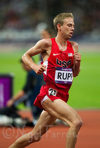 04 AUG 2012 - LONDON, GBR - Galen Rupp (USA) of the USA racing during the men's 10,000m final at the London 2012 Olympic Games athletics at the Olympic Stadium in the Olympic Park, Stratford, London, Great Britain (PHOTO (C) 2012 NIGEL FARROW)