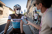 Oliver Naesen (BEL/AG2R-La Mondiale) being interviewed pre-race<br /> <br /> 101st Milano-Torino 2020 (UCI 1.Pro)<br /> 1 day race from Mesero to Stupinigi (198km)