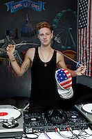 Race Imboden, 19, in his Park Slope, Brooklyn apartment in NY on Sunday, July 15, 2012.  Imboden, the youngest member of the 2012 U.S. Olympic team for the men's foil event, is also an amateur DJ.