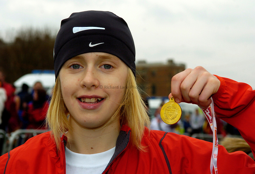 Photo: Jed Wee/Richard Lane Photography..Sainsbury's English Schools Cross Country. 24/03/2007...Intermediate girls gold medalist Laura Park.