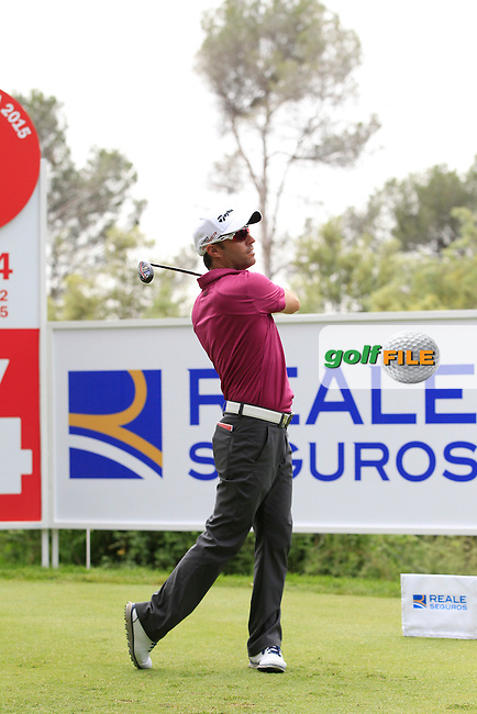 Mark Tullo (CHI) on the 14th tee during Round 1 of the Open de Espana  in Club de Golf el Prat, Barcelona on Thursday 14th May 2015.<br /> Picture:  Thos Caffrey / www.golffile.ie