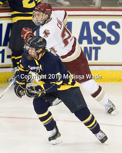 Karl Stollery (Merrimack - 7), Paul Carey (BC - 22) - The Merrimack College Warriors visited the Boston College Eagles on Friday, October 29, 2010, at Conte Forum in Chestnut Hill, MA.