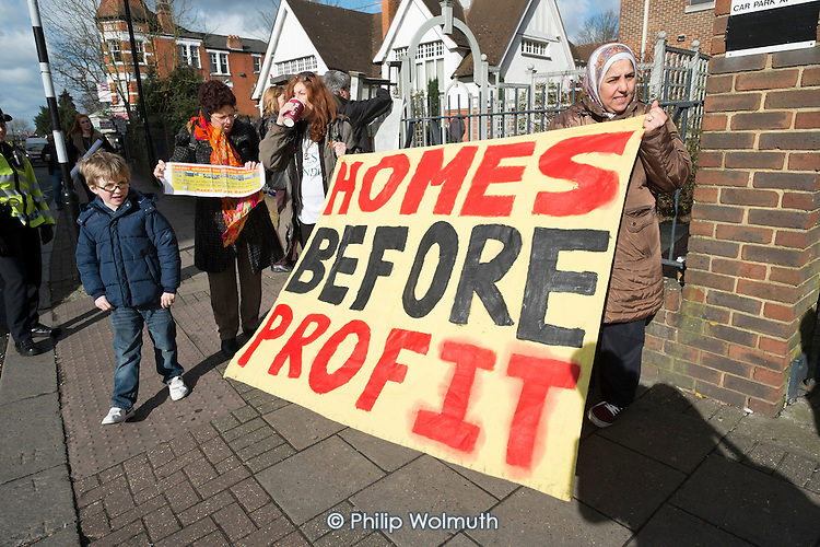 Esmaa Guernaoui, other former residents and supporters protest outside Barnet County Court before property company Annington won a possession order on an occupied house, and a partial injunction on freedom of movement on Sweets Way estate, Whetstone, London.