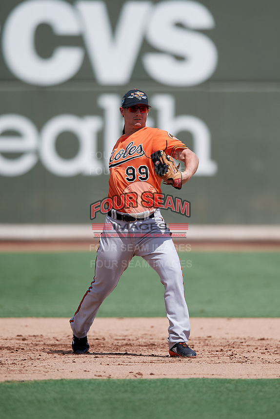 Baltimore Orioles third baseman Branden Becker (99) throws to first base during a Florida Instructional League game against the Boston Red Sox on September 21, 2018 at JetBlue Park in Fort Myers, Florida.  (Mike Janes/Four Seam Images)