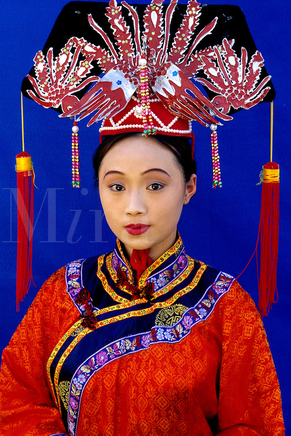 Colorful woman in Tang Dynasty traditional costume in China