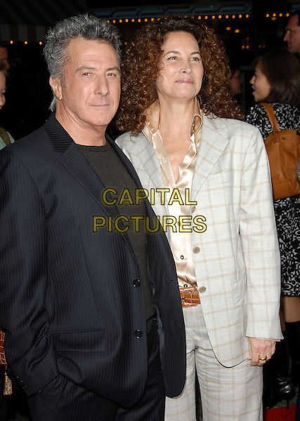 "DUSTIN HOFFMAN & LISA GOTTSEGEN.The Columbia Pictures' World Premiere of ""Stranger than Fiction"" held at The Mann Village Theatre in Westwood, California on October 30, 2006.Copyright 2006 Debbie VanStory.Ref: DVS.half length black grey gray suit jacket checkered.www.capitalpictures.com.sales@capitalpictures.com.©Debbie VanStory/Capital Pictures"