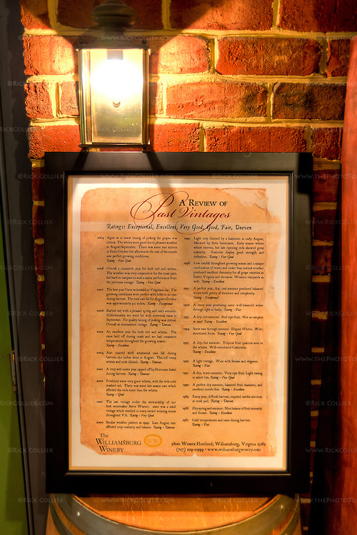"An antique-styled poster, ""A Review of Past Vintages,"" displayed on a barrel in the shop at The Williamsburg Winery.  High-Dynamic Range (HDR) made this shot possible hand-held and using available light only."