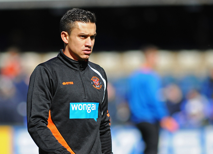 Blackpool's Jose Miguel Cubero during the pre-match warm-up <br /> <br /> Photographer Kevin Barnes/CameraSport<br /> <br /> Football - The Football League Sky Bet Championship - Ipswich Town v  Blackpool - Saturday 11th April 2015 - Portman Road - Ipswich<br /> <br /> &copy; CameraSport - 43 Linden Ave. Countesthorpe. Leicester. England. LE8 5PG - Tel: +44 (0) 116 277 4147 - admin@camerasport.com - www.camerasport.com