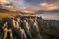 Punakaiki Rocks, Sunset, West Coast, South Island, New Zealand - stock photo, canvas, fine art print