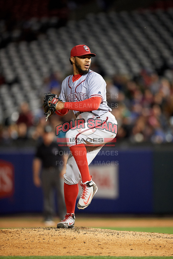 Syracuse Chiefs relief pitcher Jimmy Cordero (20) delivers a pitch during a game against the Buffalo Bisons on July 6, 2018 at Coca-Cola Field in Buffalo, New York.  Cordero was ejected by home plate umpire Jeremie Rehak (not shown) immediately after throwing at the batter.  Buffalo defeated Syracuse 6-4.  (Mike Janes/Four Seam Images)