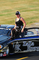 Sept. 3, 2011; Claremont, IN, USA: NHRA pro stock driver Erica Enders during qualifying for the US Nationals at Lucas Oil Raceway. Mandatory Credit: Mark J. Rebilas-