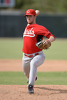 Cincinnati Reds pitcher Conor Krauss (49) during an Instructional League game against the Milwaukee Brewers on October 6, 2014 at Maryvale Baseball Park Training Complex in Phoenix, Arizona.  (Mike Janes/Four Seam Images)