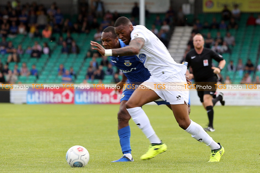 Morgan Ferrier of Dagenham and Gavin Hoyte of Eastleigh of Eastleigh during Eastleigh vs Dagenham & Redbridge, Vanarama National League Football at the Silverlake Stadium on 12th August 2017