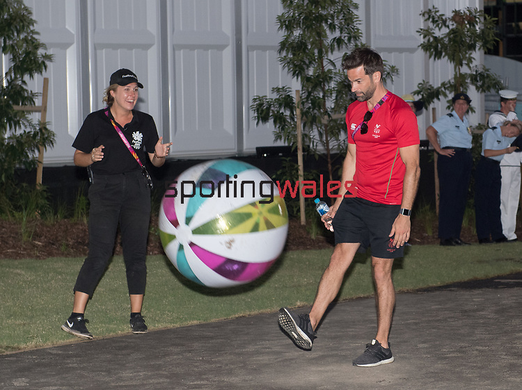 Gethin Jones kicking a beach ball <br /> <br /> *This image must be credited to Ian Cook Sportingwales and can only be used in conjunction with this event only*<br /> <br /> 21st Commonwealth Games - Wales Welcoming ceremony - Athletes Village - 03/04/2018 - Gold Coast City - Australia