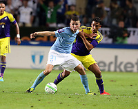Thursday 08 August 2013<br /> Pictured L-R: Erdal Rakip of Malmo challenged by Neil Taylor of Swansea <br /> Re: Malmo FF v Swansea City FC, UEFA Europa League 3rd Qualifying Round, Second Leg, at the Swedbank Stadium, Malmo, Sweden.