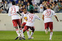 Dane Richards (19) of the New York Red Bulls celebrates scoring with teammates during a Major League Soccer (MLS) match against the Kansas City Wizards at Red Bull Arena in Harrison, NJ, on October 02, 2010.